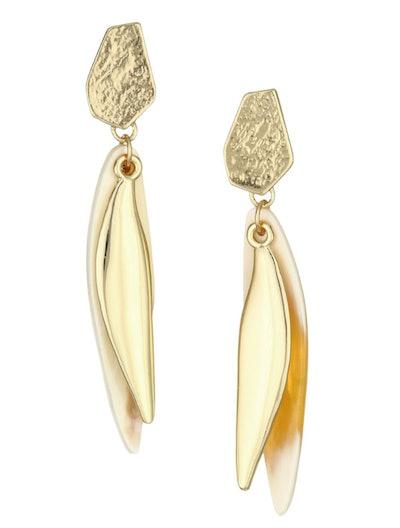 Villa Elory Blonde Horn and Goldtone Organic Overlay Drop Earrings