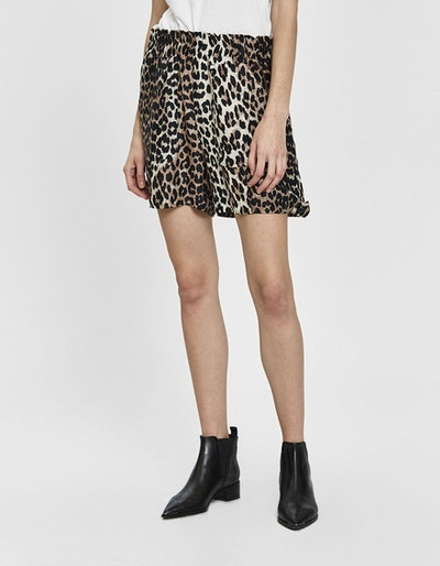 Silk Linen Leopard-Print Shorts