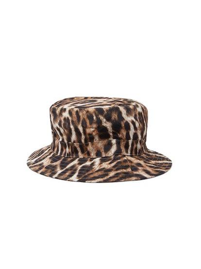 Leopard-Print Canvas Bucket Hat