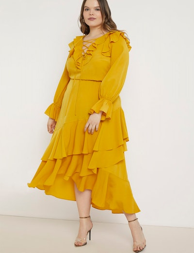 Ruffle Maxi Dress with Lace-Up Neck