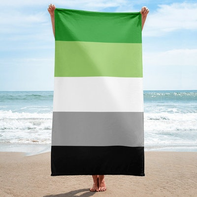 Aromantic Pride Flag Beach Towel