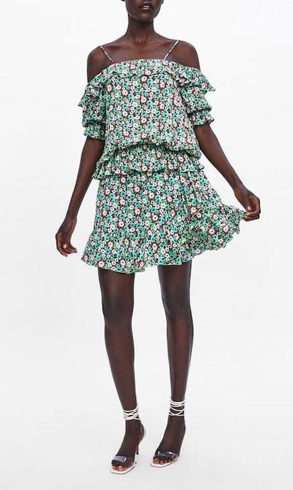 Floral Print Blouse & Ruffle Skirt