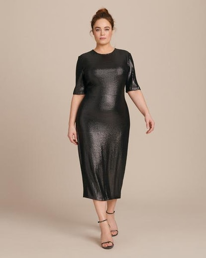 Stretch Sequins Fitted Tee Dress