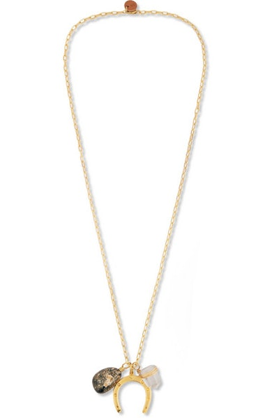 Sirconstance Get Lucky Gold-Plated Jasper And Crystal Necklace