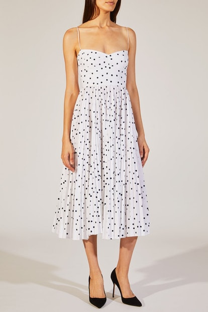 The Pamela Dress In White With Navy Dot