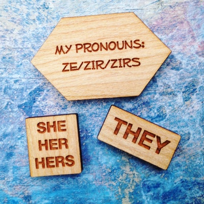 Pronoun Pins in Cherry Wood