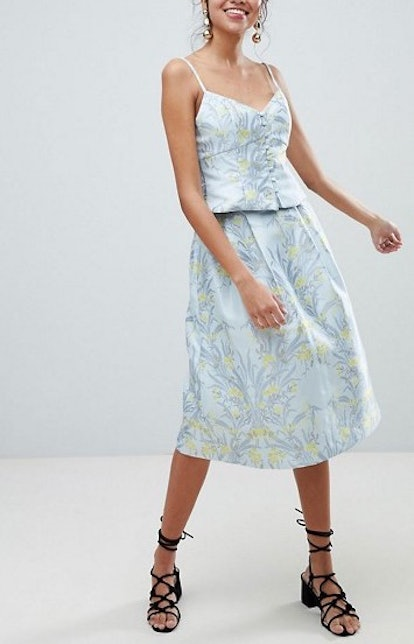 Oasis Floral Print Jacquard Button Down Cami Top & Skirt Two-Piece