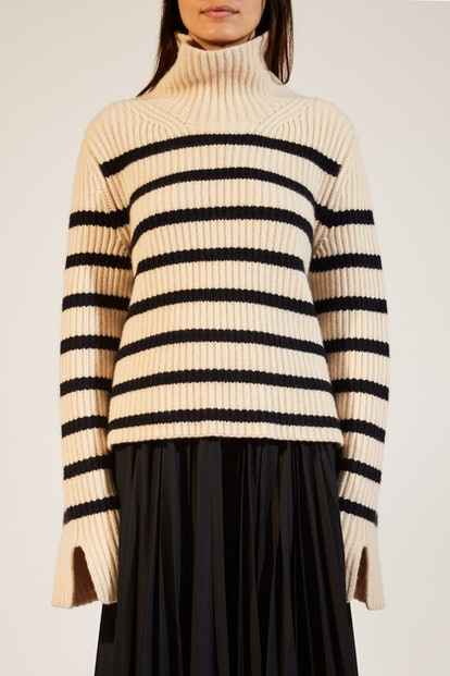 The Molly Sweater In Bone and Navy Stripe