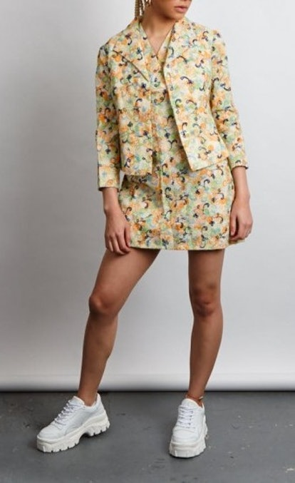 Vintage 60's Neon Embroidered Print Co-Ord Set