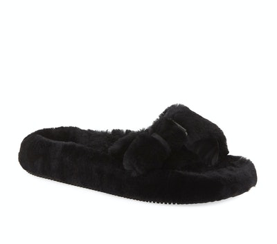 Black Bee Shearling Slippers