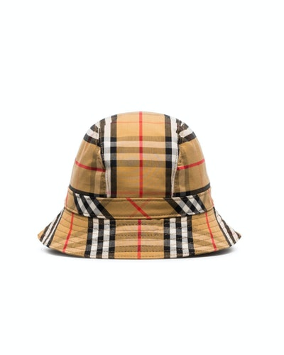 Vintage Check Cotton Bucket Hat