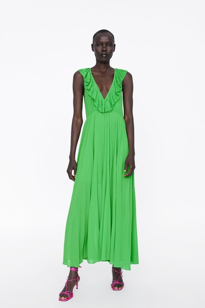 Pleated Dress - Green