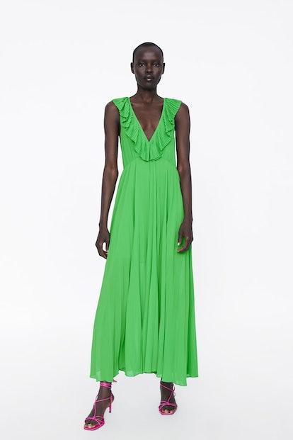 Pleated Dress - Green