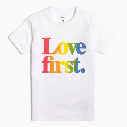 """Women's J.Crew X Human Rights Campaign """"Love first"""" T-shirt"""
