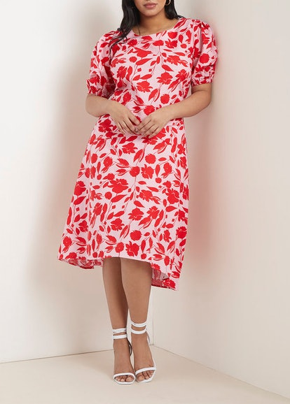 Puff Sleeve Top & Floral Midi Skirt