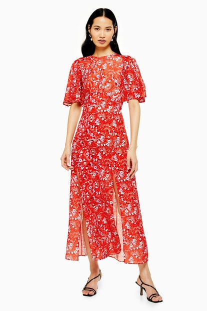 AUSTIN Floral Star Print Angel Sleeve Midi Dress