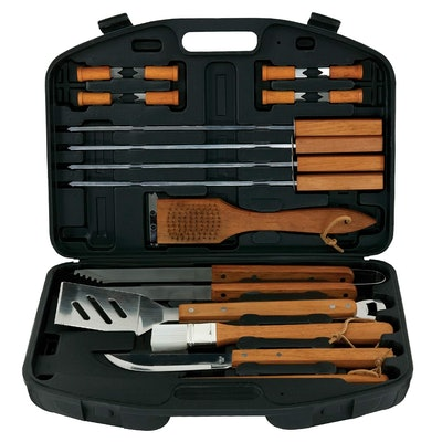 18-Piece Stainless-Steel Barbecue Set with Storage Case