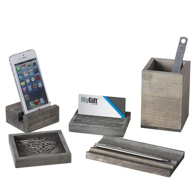 Vintage Gray Wood 5-Piece Desk Set