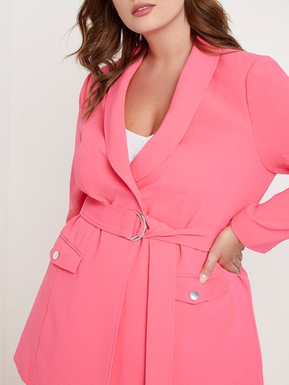Belted Blazer with Pockets