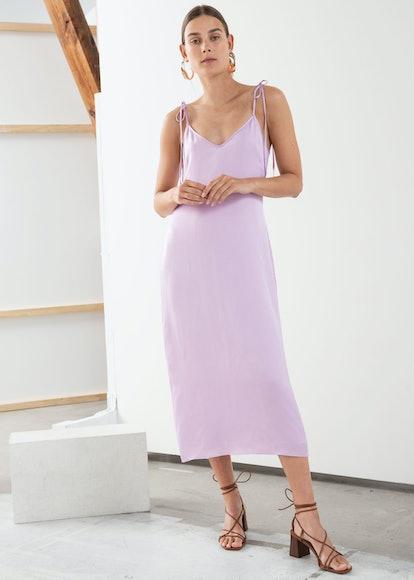 Shoulder Tie Midi Slip Dress