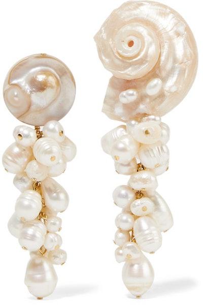 Anita Berisha Mermaid Shell And Pearl Earrings