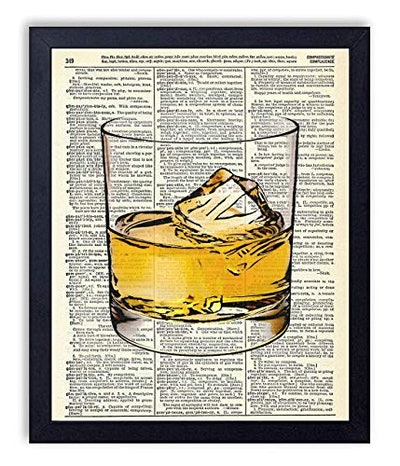 Whiskey Glass Man Cave Vintage Wall Art