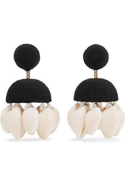 Rebecca de Ravenel + Aquazzura Riviera Cord, Bead, and Shell Clip Earrings
