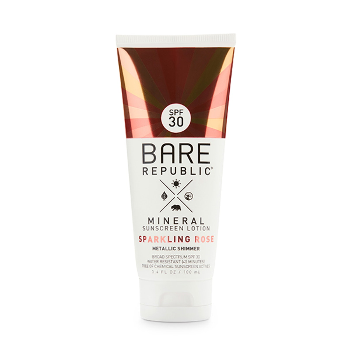 Bare Republic Mineral Shimmer Sunscreen Lotion in Sparkling Rose, SPF 30