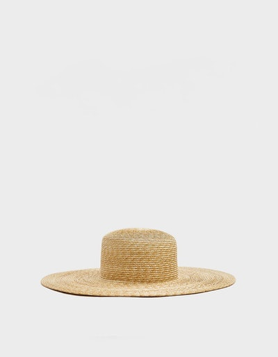Wide Brim Flat Top Hat with Shade