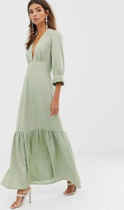 ASOS DESIGN Plunge Tea Maxi Dress With Pep Hem
