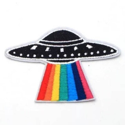Pride Rainbow UFO Iron On Embroidered Patch