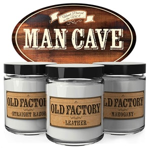 Old Factory Man Cave Candles (Set of 3)