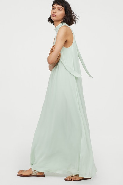 Long Dress With Tie Collar - Mint Green