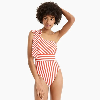 J. Crew One Shoulder Striped Swim Suit