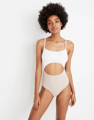 Madewell Second Wave Cutout One-Piece Swimsuit in Colorblock