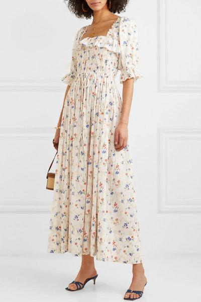 Sol Shirred Floral-Print Swiss-Dot Cotton-Voile Maxi Dress