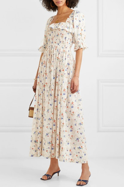 Sol Shirred Floral-Print Swiss-Dot Cotton-Voile Maxi Dress
