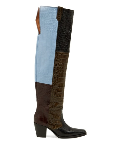 Crocodile-Effect Leather Knee Western Boots