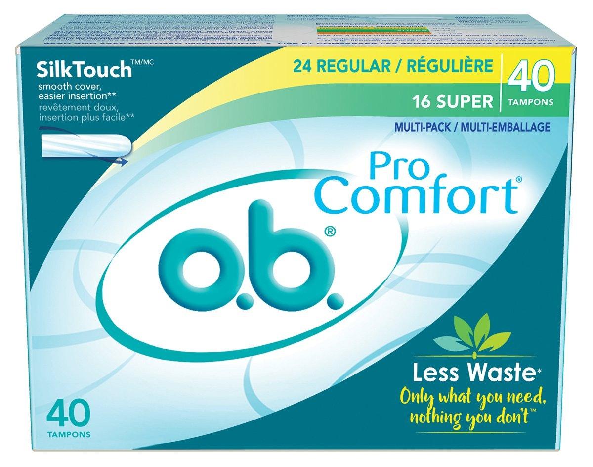 o.b. Pro Comfort Applicator-Free Tampons, Regular and Super Multi-Pack, 40 Count