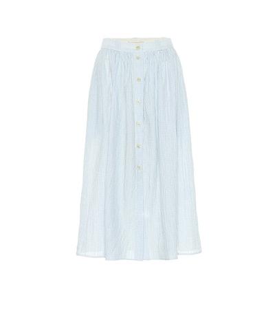 Brock Collection Olivo Gingham Cotton Midi Skirt