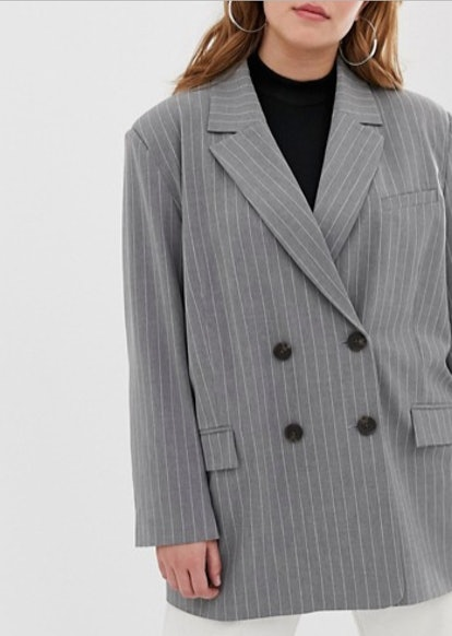 Suit Blazer in Gray Pinstripe