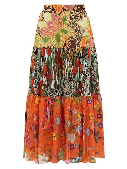 New India Printed Tiered Cotton-Poplin Midi Skirt