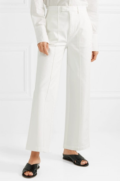 Cotton-Blend Twill Wide-Leg Pants