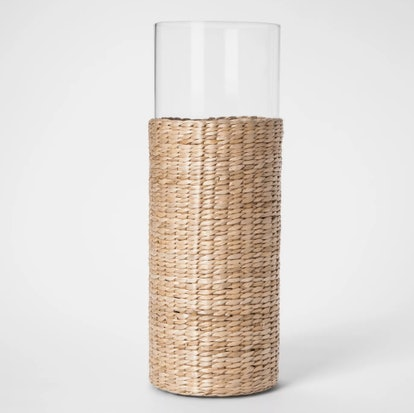 Glass And Narrow-Leaf Cattail Woven Vase Natural - Threshold