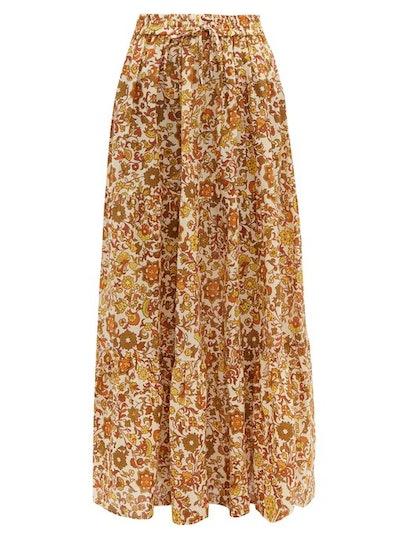 Batira Tiered Floral-Print Cotton Maxi Skirt