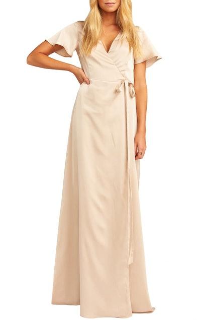 Noelle Satin Wrap Evening Dress