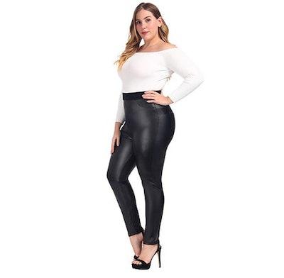 MCEDAR Women's High Waisted Faux Leather Leggings