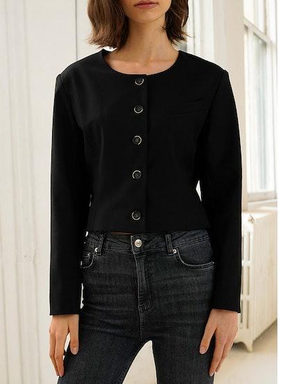 Black Crop Blazer