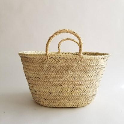 Straw Market Basket Bag with Straw Handles