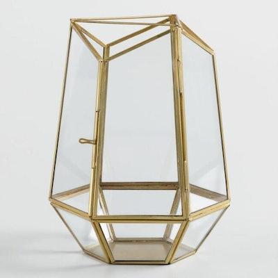 Small Antique Brass And Glass Terrarium